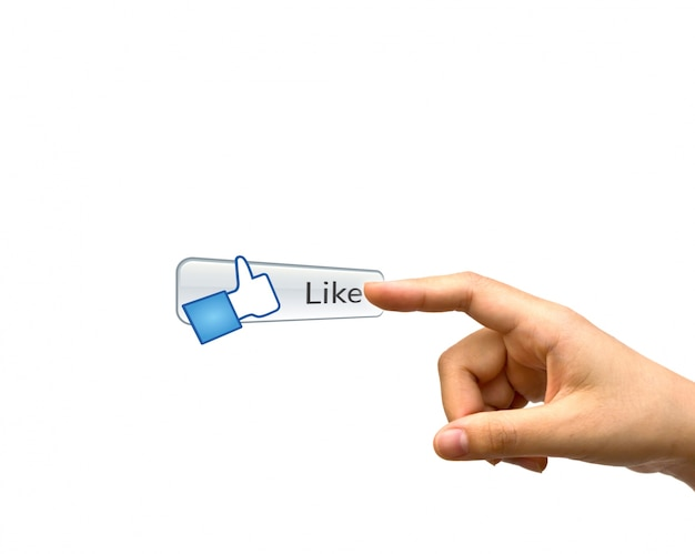 Index finger next to a like button