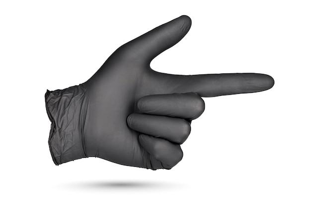 Указательный палец указывая знак. рука в черной нитриловой защитной перчатке, изолированной на белом.