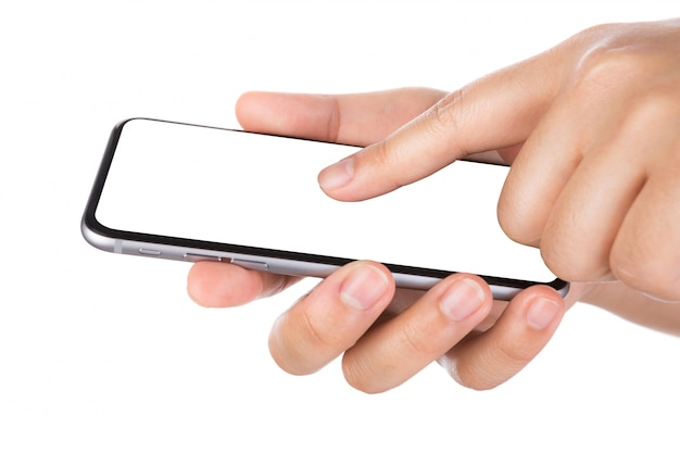 Index finger touching a smartphone's screen