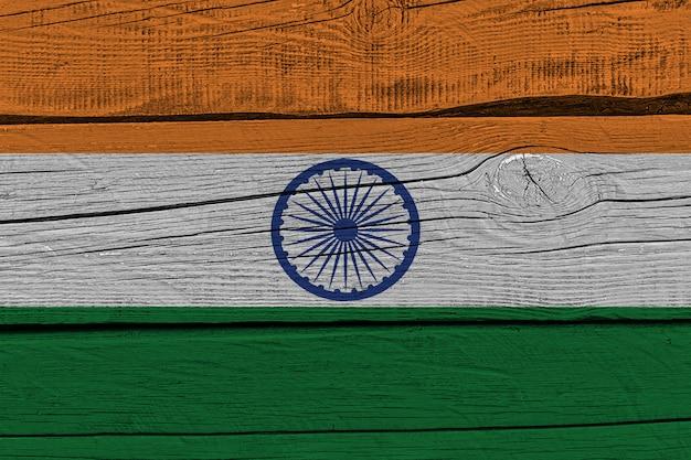 India flag painted on old wood plank