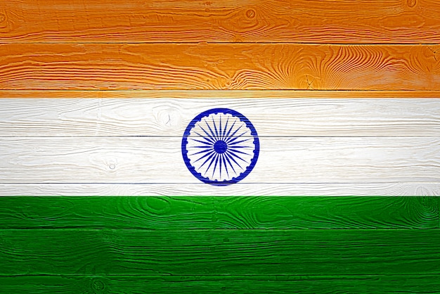 India flag painted on wooden planks