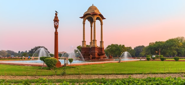 India gate and the canopy, beautiful morning panorama.