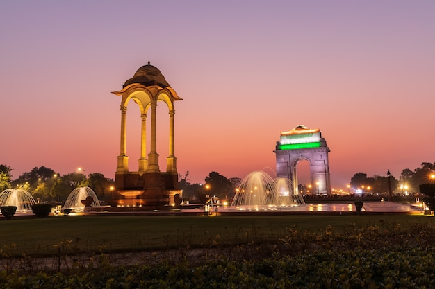 India gate and the canopy, sunset colours of new delhi.