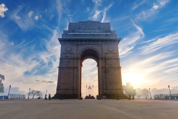 India gate at sunrise, famous landmark of new dehli, no people.