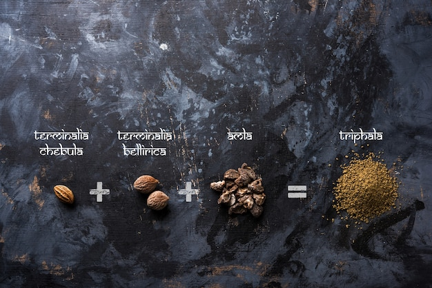Indian ayurvedic triphala churan or trifala powder is an ancient medicine for bowel movement or indigestion problems. selective focus