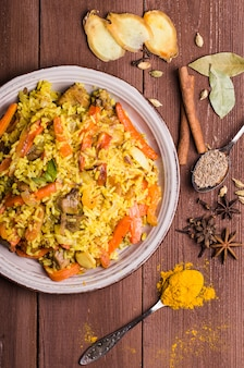 Indian biryani with chicken and spices