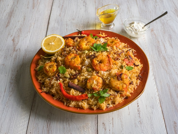 Indian biryani with shrimp. tasty and delicious prawns biryani
