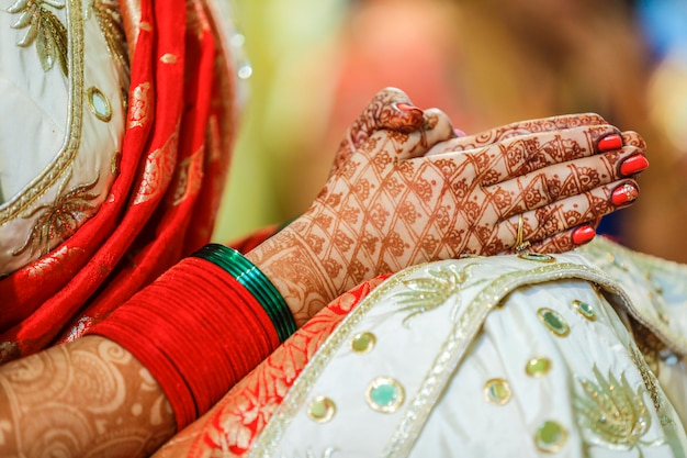 Indian bridal hand with mehandi design