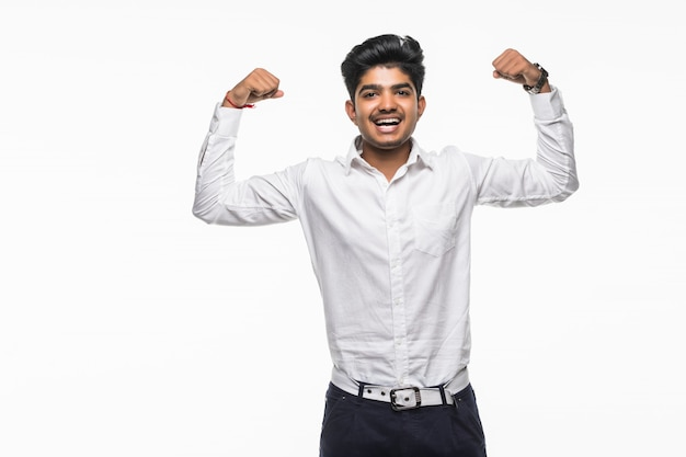 Indian business man flexing his biceps. concept about power and strength.