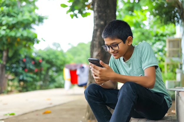 Indian child attending online lecture