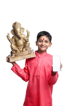Indian child celebrate lord ganesha festival and showing smartphone screen