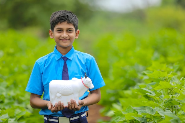 Indian child holding piggy bank at green agriculture field.