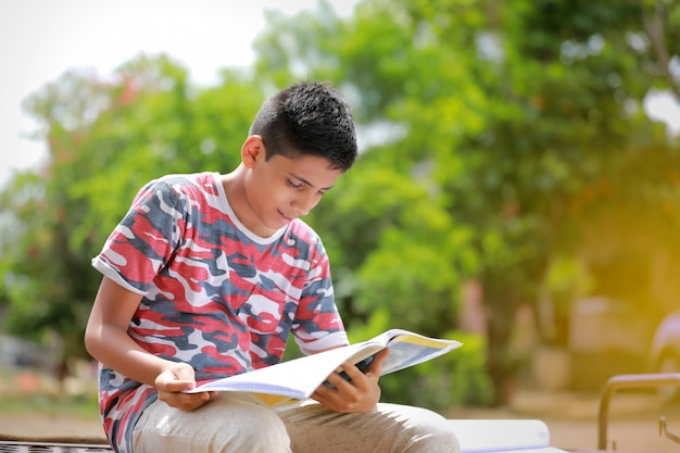 Indian child reading a book