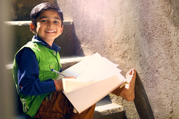 Indian child studying