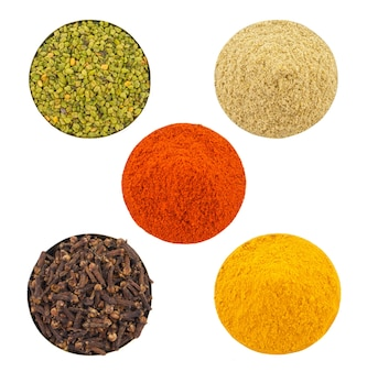 Indian colorful spices in bowl