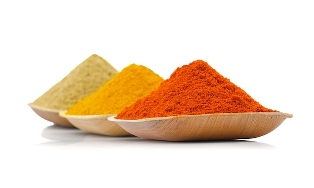 Indian colourful spices on white background