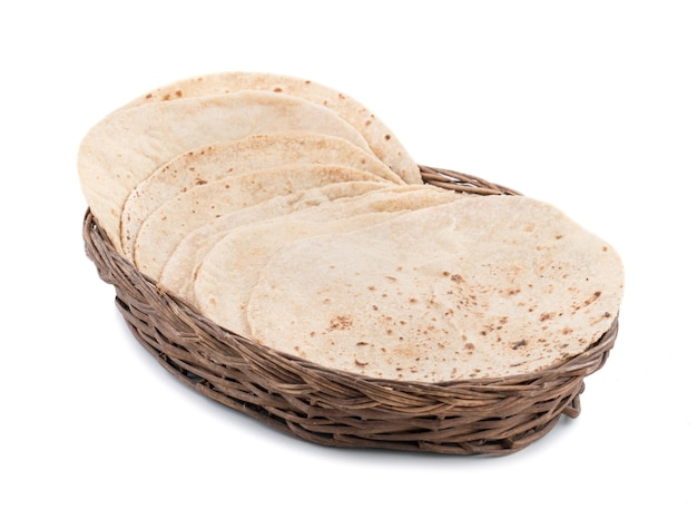 Indian cuisine chapati on white background