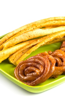 Indian cuisine fafda and jalebi, special and famous dish of gujarat.
