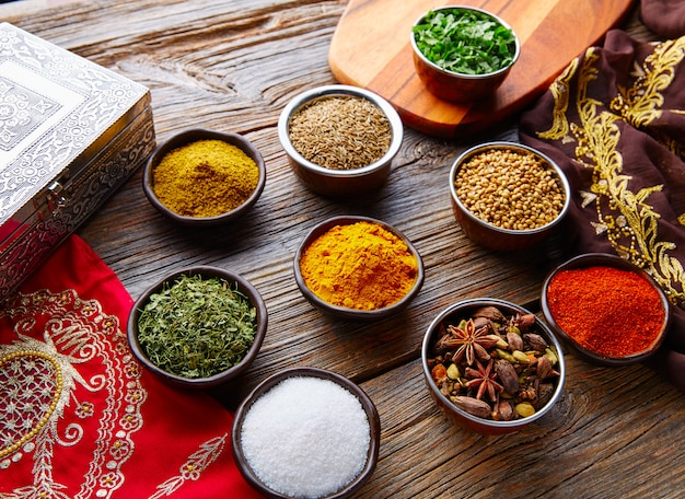 Indian cuisine spices mix as coriander curry