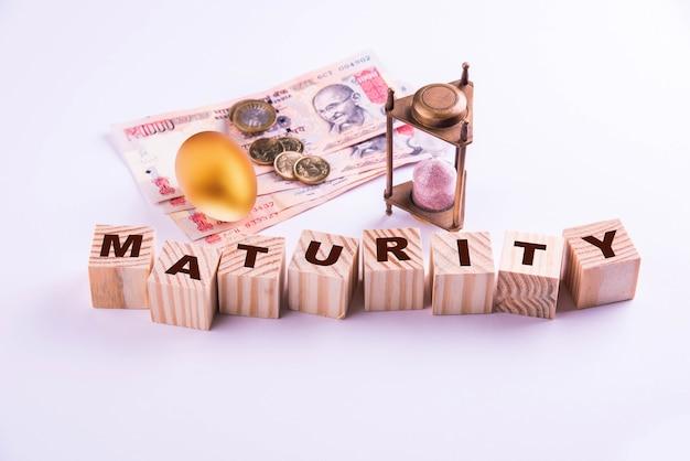 Индийские банкноты с монетами и золотым яйцом вместе со старинными песочными часами и деревянными блоками с взаимными средствами или фиксированным депозитом, написанным поверх них