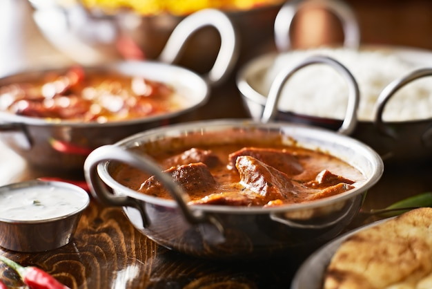 Indian curry in a balti dish with sauce