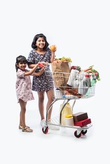白い壁に隔離された、食料品、野菜、果物でいっぱいのショッピングカートまたはトロリーを持つインドのかわいい女の子