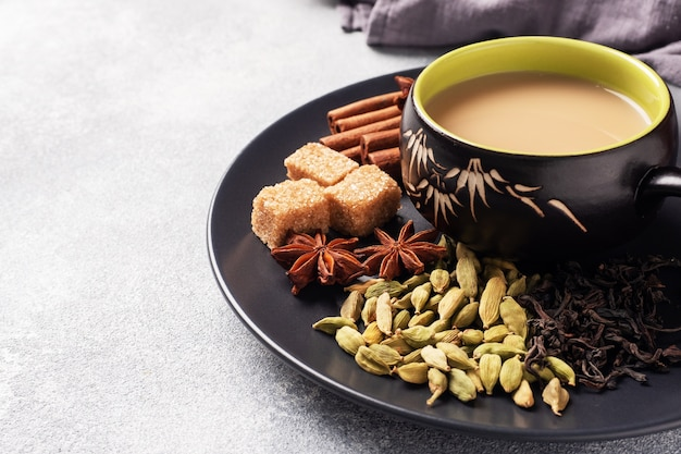 Indian drink masala tea with milk and spices.