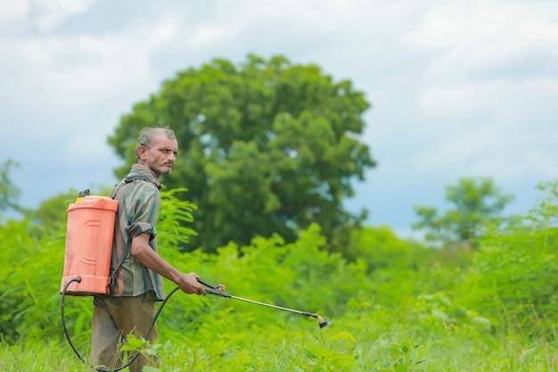 Индийский фермер и рабочая сила распыляют пестициды на поле