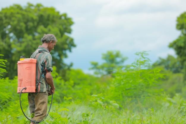 インドの農民と労働者が畑で農薬を散布している