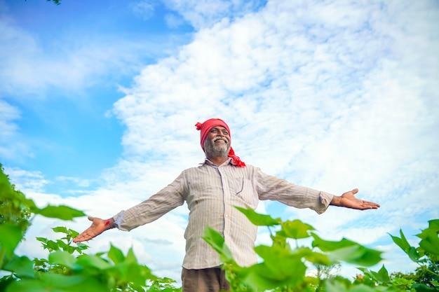綿畑でインドの農家