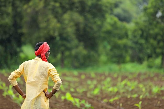 バナナ畑の伝統的な衣装を着たインドの農民