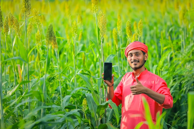 Indian farmer showing smartphone at sorghum field