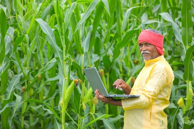 Indian farmer using laptop at corn field