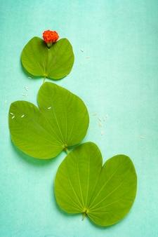 インドのお祭りダシャラ、緑の葉とご飯