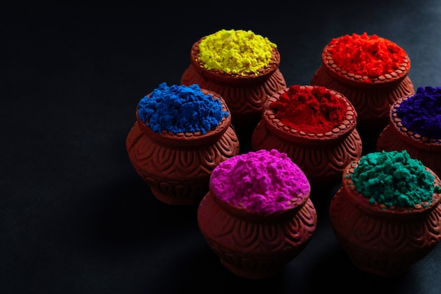 Indian festival holi, colors in bowl