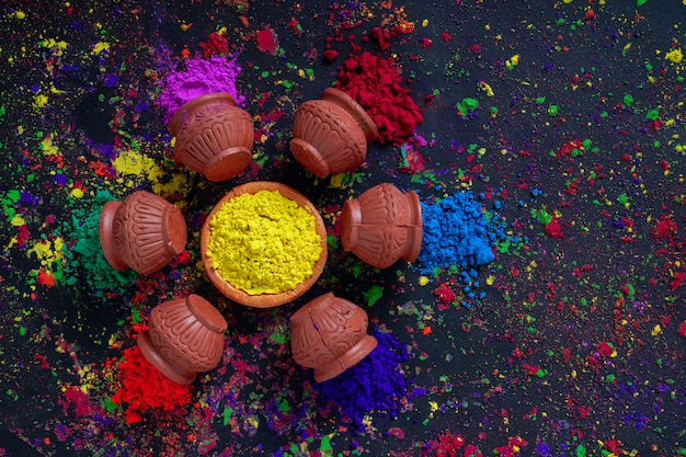 Indian festival holi,colors in bowl