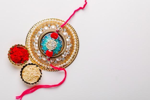 Indian festival raksha bandhan, colorful designer rakhi or wrist band