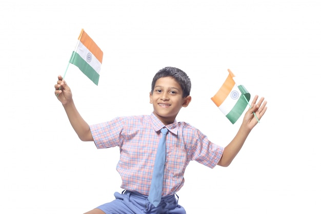 Indian flag in child hand