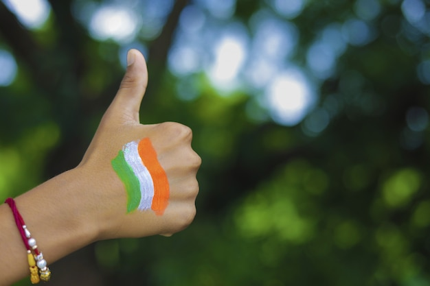 Indian flag on hand and wrist of child