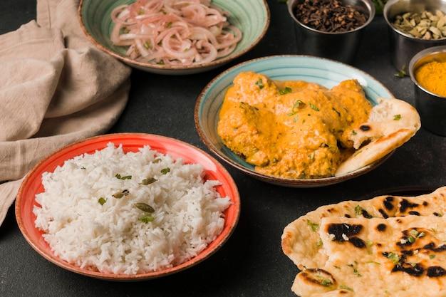 Indian food arrangement high angle