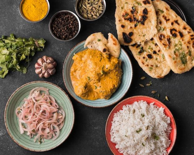 Indian food arrangement top view