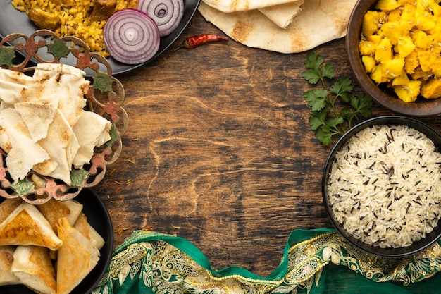 Indian food circular frame with copy-space