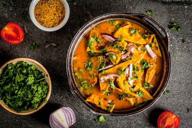 Indian food recipes, indian omelet masala egg curry, with fresh vegetables