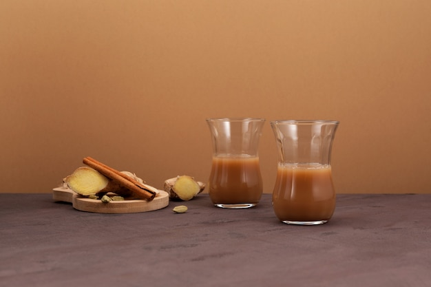 Indian ginger tea with milk and spices