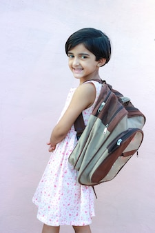 Indian girl with school bag