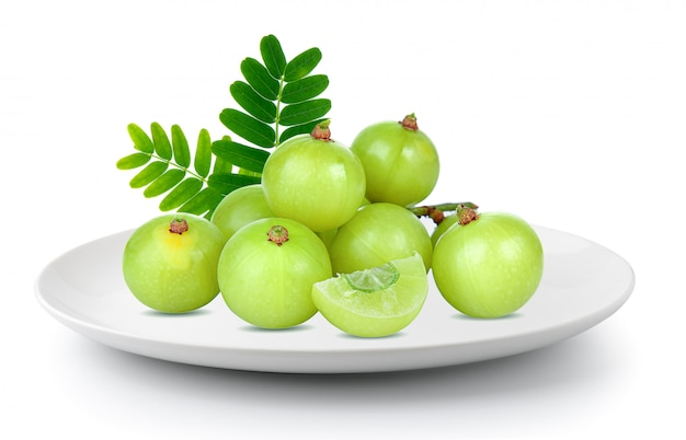 Indian gooseberry in aplate isolated