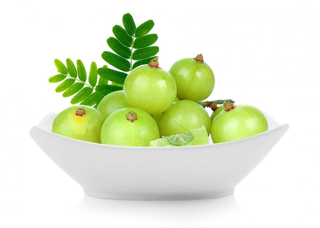 Indian gooseberry in a bowl isolated