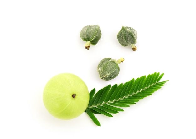 Indian gooseberry fruits and seeds isolated on white background.top view,flat lay