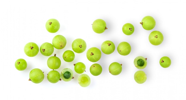 Indian gooseberry on white wall.