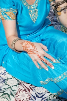 Indian henna pattern on the hand